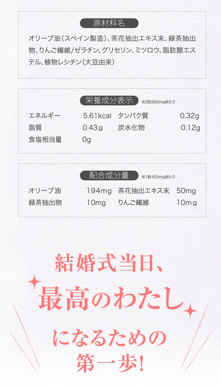 【原材料名】オリーブ油(スペイン製造)、茶花抽出エキス末、緑茶抽出物、りんご繊維/ゼラチン、グリセリン、ミツロウ、脂肪酸エステル、植物レシチン(大豆由来)【栄養成分表示(※2粒950mgあたり)】エネルギー 5.61kcal タンパク質 0.32g 脂質 0.43g 炭水化物 0.12g 食塩相当量 0g【配合成分量(※1粒425㎎あたり)】オリーブ油:194mg 緑茶抽出物:10mg 茶花抽出エキス末:50mg りんご繊維:10mg 結婚式当日、最高のわたし になるための第一歩!