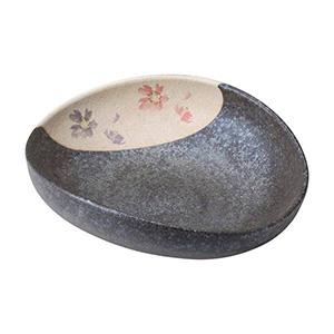 信楽焼 花絵楕円盛鉢