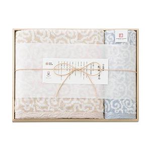 今治謹製 紋織タオル バス1P・ウォッシュタオル1P(ブルー)