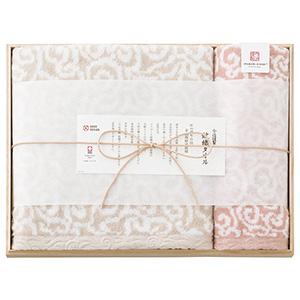 今治謹製 紋織タオル バス1P・ウォッシュタオル1P(ピンク)