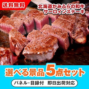 北海道かみふらの和牛サーロインステーキ 選べる景品5点セット