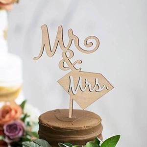 ケーキトッパー メッセージタイプ ダイヤMr&Mrs