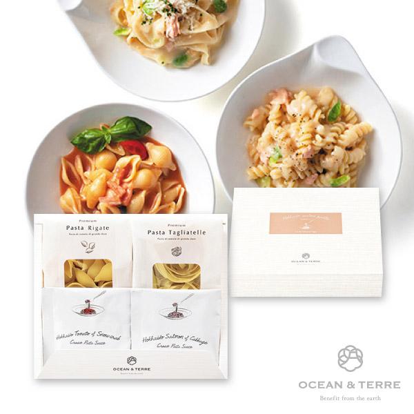 北海道Premium海鮮パスタセットA(トマトとズワイガニクリーム、サケとキャベツクリーム)