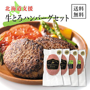 【送料無料】北海道支援!牛とろハンバーグセット