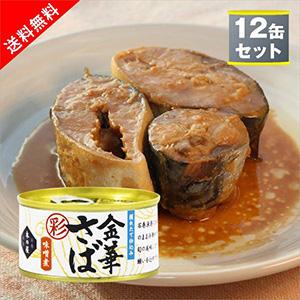 【送料無料】木の屋石巻水産 金華さば味噌煮(彩) 鯖缶詰12個セット